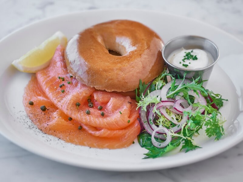 The smoked salmon bagel is available for breakfast at Balthazar in Covent Garden