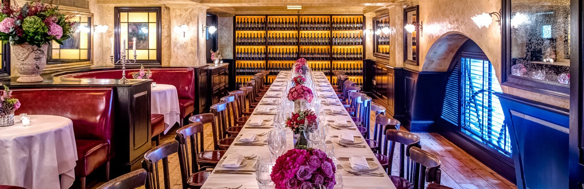 The Private Dining Room at Balthazar in Covent Garden is ideal for anniversary or birthday party