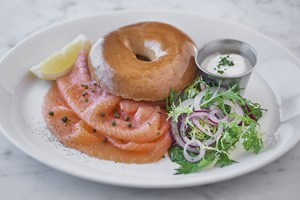 Salmon Bagel available for weekend brunch at Balthazar, a restaurant located in Covent Garden