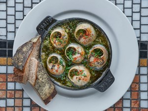 French Restaurant Balthazar in Covent Garden serves snails for lunch or dinner