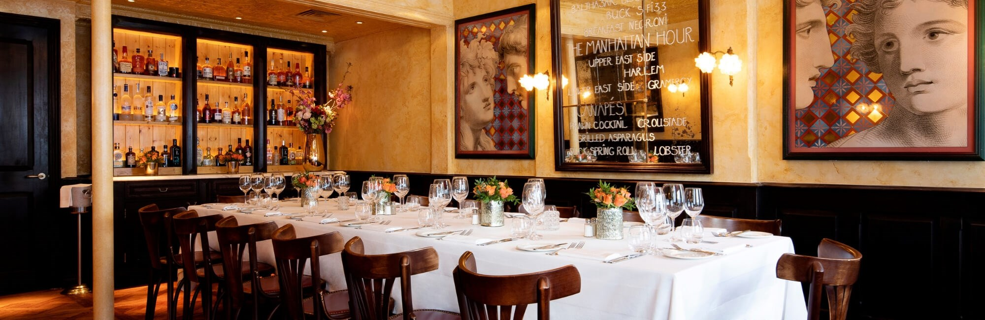 The small private dining room at Balthazar can accommodate up to 24 guests