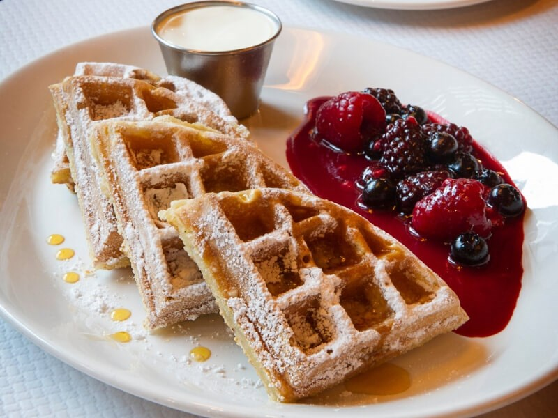 Waffles available for weekend brunch at Balthazar in London