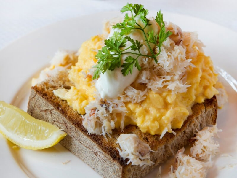The scrambled eggs are available on the weekend brunch menu at Balthazar in Covent Garden