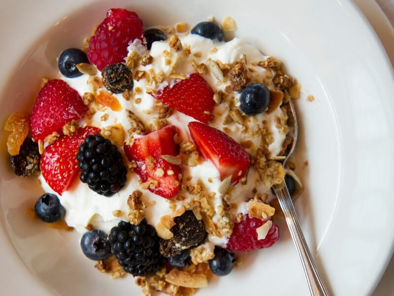 The berry granola is available on the weekend brunch menu at Balthazar in Covent Garden